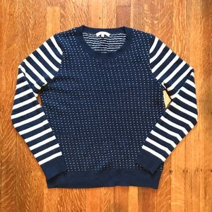 Navy and White Hearts and Stripes Sweater